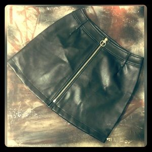 Guess Faux Leather Silver Zip Front Mini Skirt